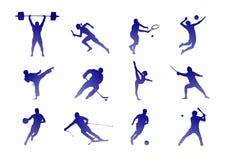 Rodzaje sport: tenis, futbol i inny, - odosobniony wizerunek ilustracja wektor