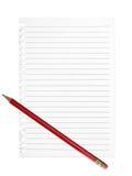 Rodzajowa lista, wiadomości tło Prążkowana strona, papier z ołówkiem Fotografia Stock