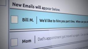 Rodzajowego emaila Inbox Nowa wiadomość - Na pół etatu zatrudnienia list royalty ilustracja