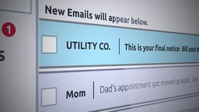 Rodzajowego emaila Inbox Nowa wiadomość opłata - rachunek za usługę komunalną past - ilustracji