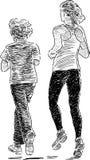 Rodzeństwa jogging Zdjęcie Stock