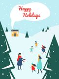 Rodziców i dzieci bawić się outside z śniegiem przy ośrodkiem narciarskim royalty ilustracja