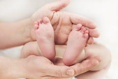 Rodzic trzyma delikatnych małych pięknych cieki w nowonarodzonym dziecku fotografia stock