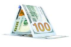 Rodzima pieniądze psiarnia, dolarowa tratwa, waluty chałupa odizolowywająca na bielu Fotografia Stock