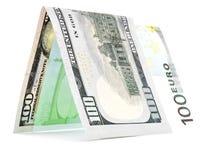 Rodzima waluta składał w połówce, pieniądze buda, banknotu kąt odizolowywający Zdjęcia Royalty Free