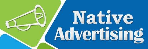 Rodzimej reklamy zieleni Błękitni Zaokrągleni kwadraty Zdjęcie Royalty Free