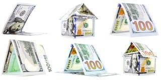 Rodzimi pieniędzy domy, budy, osaczają set odizolowywającego na białym tle Obrazy Royalty Free