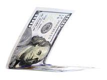 Rodzimy dolar składał w połówce, pieniądze szczęki, waluta kąt odizolowywający Zdjęcia Stock