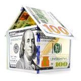 Rodzimy dolara dom, pieniądze budynek odizolowywający na białym tle Obrazy Stock