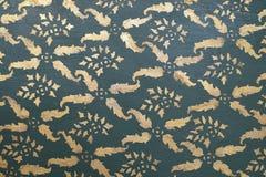 Rodzimy tajlandzki malujący wzór textured ściana w Thailand Obraz Stock