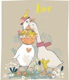 Rodzina śliczni rolni ptaki royalty ilustracja
