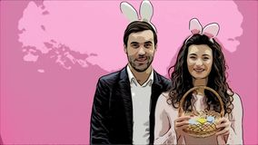 Rodzina świętuje Wielkanocnego dzień Szczęśliwa para z królików ucho wesołych świąt Para obrazu jajka dla wielkanocy dekoracja zbiory wideo