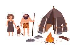 Rodzina antyczni ludzie, cavemen, pierwotni mężczyzna lub archaiczna istota ludzka, Matki, ojca i syna pozycja obok ich mieszkani ilustracja wektor
