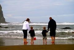 Rodzina bada niskiego przypływu przypływu basenu na plaży obrazy royalty free