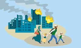 Rodzina biega daleko od niszczącego miasta pojęcia sztandar, mieszkanie styl ilustracja wektor