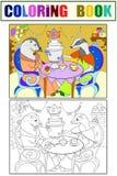 Rodzina borsuki w ich domu w kuchennej kolorystyki książce dla dziecko kreskówki wektoru ilustraci Kolor, czerń i Zdjęcia Royalty Free