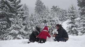 Rodzina buduje bałwanu w parku, uroczy dziecka naprawiania guziki, snowed drzewa, pięknej zimy rodzinny portret, istna praca zesp zdjęcie wideo