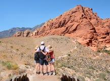 Rodzina cieszy się czas w górach na wakacje Obraz Royalty Free