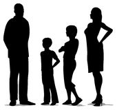 rodzina cztery silhouette pozycję Obrazy Stock