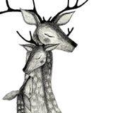 Rodzina deers na akwareli tle obrazy royalty free
