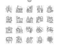 Rodzina dekoruje Bożenarodzeniową domową Wykonującą ręcznie piksel Doskonalić wektor ikon 30 Cienką Kreskową 2x siatkę dla sieci  ilustracji