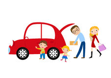 Rodzina i samochód Zdjęcia Stock