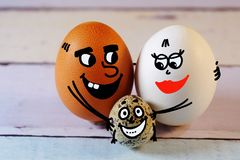 Rodzina jajko tata mama i jajko syn Zdjęcia Stock