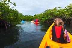 Rodzina kayaking w mangrowe Zdjęcia Stock