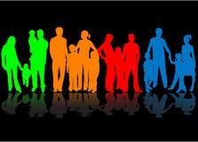 Rodzina - kolorowe sylwetki royalty ilustracja