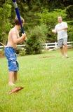 rodzina kulowego zabawy grać Zdjęcia Stock