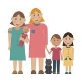 Rodzina 2 lesbians adoptuje dzieci Zdjęcie Stock
