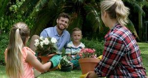 Rodzina ma dyskusję podczas gdy uprawiający ogródek wpólnie zbiory