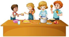 Rodzina ma posiłek na stole ilustracji