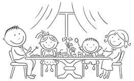 Rodzina ma posiłek wpólnie royalty ilustracja