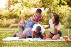 Rodzina Ma zabawę W ogródzie Wpólnie Obraz Royalty Free