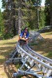 Rodzina na bobsled Fotografia Stock