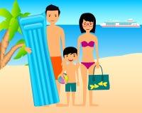 Rodzina na plaży Zdjęcia Stock