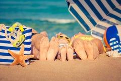 Rodzina na plaży Obrazy Stock