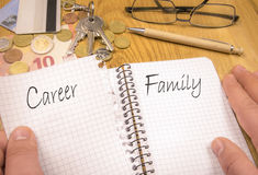Rodzina nad kariery pojęciem obraz stock