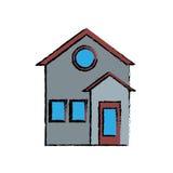 Rodzina projekta domowy fasadowy mieszkaniowy rysunek Obrazy Stock