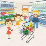 Rodzina przy sklepem spożywczym ilustracja wektor