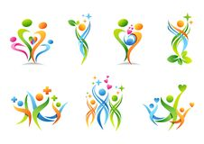 Rodzina, rodzic, zdrowie, edukacja, logo, wychowywa, ludzie, opieka zdrowotna ustawiająca symbol ikony wektorowy projekt Zdjęcia Royalty Free