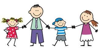 Rodzina, rodzice z dziećmi, szczęśliwa wektorowa ilustracja ilustracji