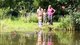 Rodzina składająca się z czterech osób ma zabawę brzeg jeziora zdjęcie wideo