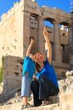 Rodzina w akropolu, Ateny Zdjęcie Stock