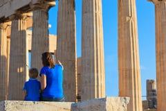 Rodzina w akropolu, Ateny Fotografia Royalty Free
