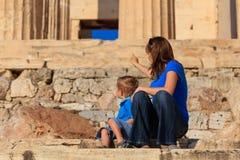 Rodzina w akropolu, Ateny Obrazy Royalty Free