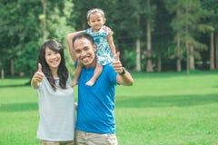 Rodzina w parku ojcuje dawać prosiątko przejażdżce z powrotem jego dziecko Zdjęcia Stock