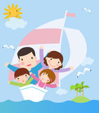 Rodzina w statku. wektorowa kreskówki ilustracja Zdjęcia Royalty Free