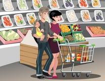 Rodzina w supermarkecie ilustracji